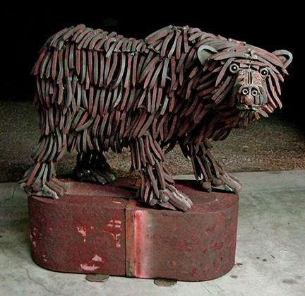 """""""Spike"""" - Bear welded from 575 rusty, used, bent railroad spikes"""