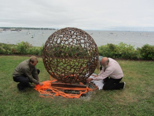 """Ridin' the Rails to Rockland,"" a sphere sculpture consisting of railroad spikes -Rockland, Maine"